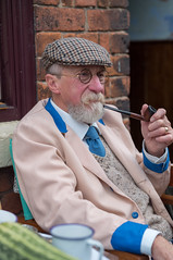 Enjoying a smoke (f22photographie) Tags: 1940s warweekend 1940sweekend 1940sfashion blackcountrylivingmuseum blackcountrylivingmuseum1940sweekend2017 blackcountrymuseum dudley westmidlands ww2 pipesmoking smoking caps hats reenactors se leicase summicrons100mm