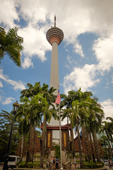 no caption (FlorianMilz) Tags: travelmalayia kltower palmtrees flag kualalumpur wilayahpersekutuankualalumpur malaysia my outpost higher landmark travel bluesky high green pride blue clouds paradise