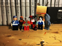 Assault on Vintage (LordAllo) Tags: lego dc suicide squad assault arkham captain boomerang black spider deadshot harley quinn kgbeast killer frost king shark vintage