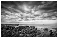 Greyhope Bay (ianrwmccracken) Tags: wideangle shore harbour monochrome aberdeen cloud water rock lighthouse seascape bw coast breakwater sea