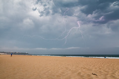 Lightning on the beach (Romain Archimbaud) Tags: éclairs paysbasque landscape storm nature lightning phare plage ocean basquecountry anglet france lighthouse seascape beach paysage madrague orage