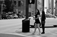 Made Up (burnt dirt) Tags: houston texas downtown city town street sidewalk crosswalk girl woman man couple crowd grouppeople person asian latina blonde brunette cute sexy laugh smile jeans dress skirt shorts yogapants tights leggings longhair shorthair ponytail heels stilettos boots shadow sunny reflection stockings friend lover pregnant athlete exercise glasses sunglasses phone cellphone construction traffic office building worker lunch streetphotography documentary portrait fujifilm xt1 bw blackandwhite tattoo metro bus busstop trainstop