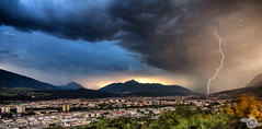 Lightning Strike (Danijel Jovanovic Photography) Tags: innsbruck tyrol tirol austria sony alpha 99ii lightning thunderstorm storm weather sunset rain blitz gewitter cityscape city