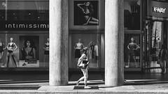 Iconic femininity (Andrea Rizzi Esk) Tags: italy architecture people woman black white italian women turin street photography icon shop torino shopping moldes bampw feminility