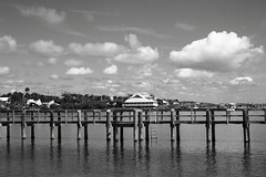 RESTAURANT (R. D. SMITH) Tags: blackandwhite sky water dock clouds restraunt florida outside canoneos7d sabastionflorida bw