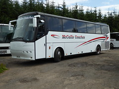 BIG 5211 is a Bova FHD12-340 (originally T280 TSF, then GSO 84V and RNZ 6318) of McCall's Coaches, Lockerbie, seen at the operator's yard on 9 July 2017. (C15 669) Tags: big 5211 mccalls lockerbie