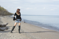 On The Shores Of A Great Lake (marylee.agnew) Tags: self portrait water red hair woman boots