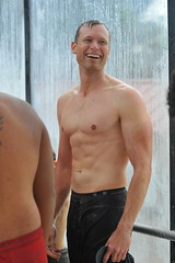 Smiling Dad (Chris Hunkeler) Tags: drbronner drbronners magicsoap man smiling shirtless male athlete shower chest bare skin pale