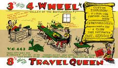 The Viking: 4-Wheel & Travel Queen - Fontana, California (73sand88s by Cardboard America) Tags: theviking qsl qslcard cb cbradio vintage embroidery california