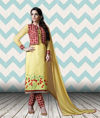 Semi Stitched Yellow And Red Cotton Satin Straight Cut Suit (nikvikonline) Tags: satin satinsalwar salwarkameez pakistani pakistanisuit suit suitsalwar salwar kameez designersalwar salwarsuit designer kamiz kamizonline suits straight pant green blue bridal wedding dress dresses