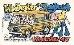 Squeaky #748: Winchester & Jayhawk - Pendleton, Oregon (73sand88s by Cardboard America) Tags: squeaky oregon qslcard qsl cbradio cb vintage van babysitter