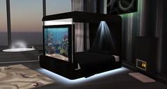 Aqua Midnight Bed (Akaesha Revnik) Tags: second life secondlife akaesha react animated furniture animations couple bed bath sofa set