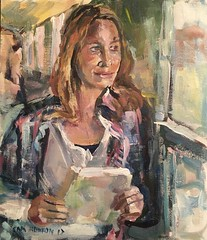With book (Captain Wakefield) Tags: reading book light impressionist figurative girl train hair portrait woman art burton samuel painting