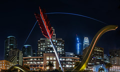 cupid's arrow panorama (pbo31) Tags: sanfrancisco california nikon d810 color night dark black boury pbo31 summer july 2017 city salesforce tower urban embarcadero panoramic large stitched panorama 181fremont construction arrow cupid sculpture art giant skyline