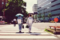 Just in the Summer (Mitsu-chan) Tags: summer street fukuoka japan landscape kimono japanesewomen