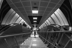 run forrest, run! / from the depth came a stranger (Özgür Gürgey) Tags: 12mm 2017 bw d750 nikon samyang architecture escalator fisheye grainy lines running stairs street istanbul