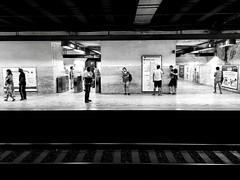 Waiting, Rome, Italy. (Massimo Virgilio - Metapolitica) Tags: monochrome blackandwhite people indoor waiting italy rome tube metro