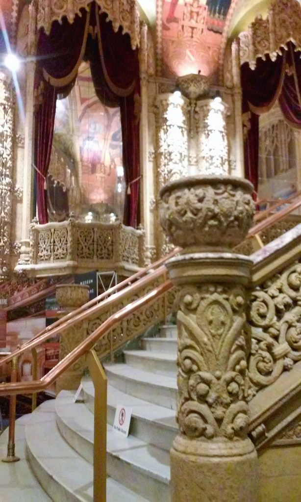 Brisbane. Interior shot of the former Regent Cinema built in 1929. The grand staircase and mouldings.