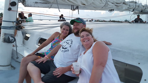 Susan, Matt, and Megan on the champagne sail