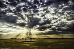 Power all over the world (++sepp++) Tags: bayern deutschland lechfeld bavaria germany schwabmünchen de landschaft landscape gegenlicht backlight backlit hochspannungsleitung highvoltagepowerline sonnenstrahl sunrays rays strahlen wolken clouds