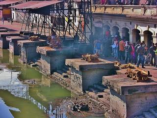 NEPAL, Pashupatinath,Hindutempel und Verbrennungsstätte, zahlreiche Feuer brennen an den Surya Ghats, 16348/8656