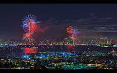 Big Bay Boom 4th of July! (Sam Antonio Photography) Tags: 4thofjuly sandiego skyline city downtown night sky water holiday reflection celebration travel skyscraper firework urban usa architecture cityscape celebrate colorful background happy fireworks waterfront tourism liberty illumination independenceday unitedstates july4th independence historic freedom samantoniophotography