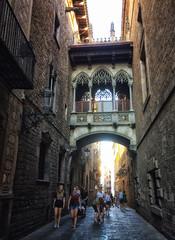 Bridge of Sighs in the Barcelona, Spain (` Toshio ') Tags: toshio barcelona spain church bridgeofsighs pontdeslsospirs alley people europe european europeanunion spanish light history gothicquarter iphone
