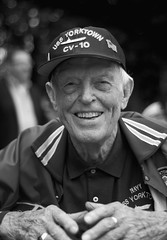 """Faces in the Crowd # 5991 (photo_secessionist) Tags: sailor ww2 veteran navy usn military natiuonalworldwartwomemorial washingtondc portrait blackwhite bw bn memorialday"