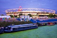 Olympic Stadium/ West Ham FC (I M Roberts) Tags: olympicstadium westhamfc leanavigation narrowboats acelormittalorbit olympicpark queenelizabeth2park newham eastlondon nightscene twilight fujix100s