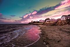 Cape Cod Sunset (nateblais) Tags: photoshop lightroom tone rocks houses seaweed sand water ocean beach sunset color landscape