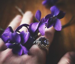 Violets (gfacegrace) Tags: nature fashion purple violet flower flowers depthoffield amazing motion blur soft moody ring jewellery jewelry stone gem purplering silver hand fade beautiful pretty macro macrophotography canon canonphotography art artistic