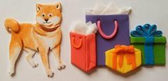 Shiba and Gifts (Edible Delights) Tags: puppy dog fondant gumpaste gifts cake cute presents birthday shiba shibainu painted