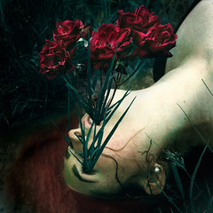 Growth (yelahrenae) Tags: girl portrait people person flowers floral red roses grass outdoors outside nature water pond lake puddle blood surreal surrealism surrealphotography conceptual art artist photography photograph photographer lowkey naturallight color