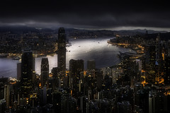 5.30 AM. Hong Kong lights (Massetti Fabrizio) Tags: hongkong cina china nikond4s 2470f28 cityscape color city night landscape landscapes light clouds red mountain mount