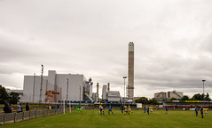 Runcorn Town (nonleaguepap) Tags: runcorn town warrington blue yellow nwcfl evo stik north west counties merseyside green grass pitch non league football pre season friendly white sky clouds pavilion ground