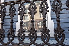 Norfolk 3-9-17 0007 (The old and the new) (cbonney) Tags: norfolk virginia bute street freemason historic district cast iron railing reflection old new