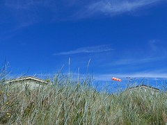 Marram for the Monday Blues (Nanny Bean) Tags: hmb blue marramgrass sky beachhut windsock coathammarshes sanddunes