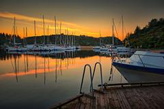 Serene summer morning, Norway (Vest der ute) Tags: norway rogaland seascape sea sky sailboats reflections mirror landscape boat quay sunrise serene summer trees fav25