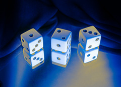 The Game is on, HMM! (M. Carpentier) Tags: macromondays three dices trois 3 dés bleu blue game gaming jeu jouer casino effects effet effets