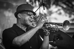 Trumpeter (tim.perdue) Tags: jazz rib fest festival summer 2017 columbus ohio scioto mile downtown urban city candid street music musician concert performance band musical instrument west bank stage watu utungo trumpet horn brass trumpeter rhythmic people swahili hat sunglasses player performer