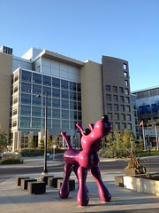 HWW (Mr. Happy Face - Peace :)) Tags: southhealthcampus shc yyc albertabound art2017 hww window hospital architecture pink statue sculpture art artist bones