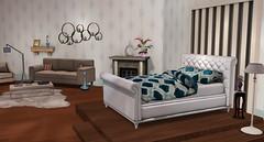 Augusta Bed (Akaesha Revnik) Tags: second life secondlife akaesha react animated furniture animations couple bed bath sofa set