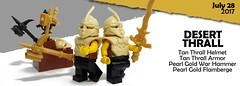July 2017 - Desert Thrall (BrickWarriors - Ryan) Tags: lego brickwarriors minifigure desert thrall tan helmet armor flamberge warhammer accessories