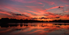 Later in the show....   Explore (Kevin Povenz Thanks for the 3,300,000 views) Tags: 2017 july jenison kevinpovenz westmichigan michigan ottawa ottawacounty maplewoodpark sunset evening sky eveningsky clouds orange red yellow blue canon7dmarkii sigma1020 reflection water pond lake trees