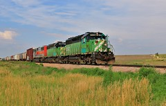 Green Fields (BravoDelta1999) Tags: burlingtonnorthern bn railroad kyle railway chicagorockislandandpacific crip clayton kansas emd sd402 6843 manifest train