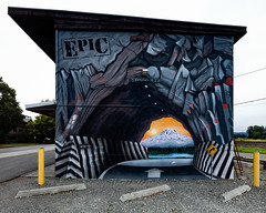 Trompe L'oeil Tunnel (Dennis Valente) Tags: 5dsr usa gravel washington traintracks tunnel visualillusion contemporaryurbanart puyallup streetart mural 2017 illusion trompeloeil epic pnw isobracketing hdr art building wall street paint mountain