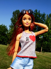 Young and free (Nickolas Hananniah) Tags: madetomovebarbie barbiedoll toy model summer park trees love redhead red fashon fashiondoll casual