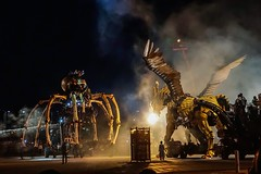 In the heat of the battle...La Machine in Ottawa. (beyondhue) Tags: beyondhue ottawa war museum spider horse dragon fight fire canada performance street wings spectacle robot giant metal la machine