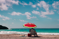Watermelon Dream (audsthetics) Tags: beach water ocean sea sky rock natural formations seascape oceanscape landscape travel adventure bermuda horseshoebaybeach horseshoebay horseshoe bay umbrella watermelon beachchair