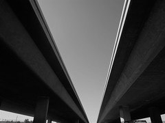 Merging in Perspective (Bart D. Frescura) Tags: blackandwhite frescuraobscura freeway 880 oakland oaklandcalifornia lightandshadow lightanddark